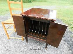 Antique c1928 Burl Walnut Original Finish Rolling Record Storage Music Cabinet