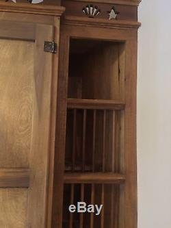 Antique Kitchen Cabinet Hutch Unknown Maker Ash Brown Color Stained Gl