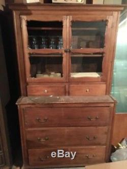 Antique pine hutch wood cabinet vintage