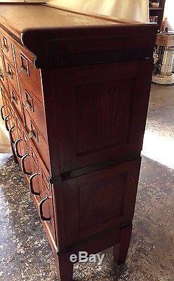 Antique Rare Globe Oak Stacking File Cabinet Original Hardware 4 Section