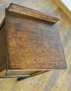 Antique vintage bobbin turned oak bedside cabinet / pot cupboard