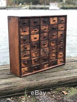 Apothecary Cabinet Vintage Industrial Wood Hardware Multi Drawer Storage