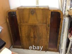 Art Deco Bar Cabinet with fold down tray / stem holder