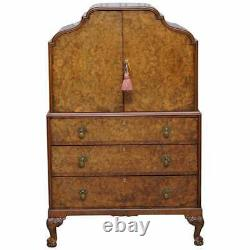 Art Deco Burr Walnut Drinks Cabinet Cupboard With Drawers Butlers Serving Tray