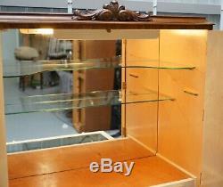 Art Deco Burr Walnut, Glass Shelves & Lights Drinks Cocktail Cabinet Cupboard