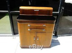 Art Deco Hamilton Dental Cabinet Designed Donald Deskey Walnut Black Glass