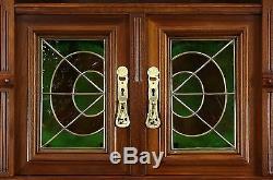 Austrian 1900 Antique Art Nouveau Sideboard, Server & China Cabinet, Back Bar