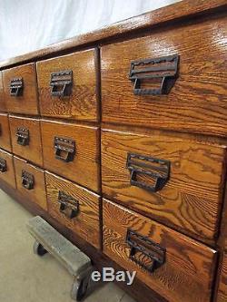 Beautiful Restored 18 Drawer Antique Sherer Oak Seed Bean