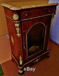 Beautiful Small Format French Louis Style, Marble Top Cabinet, Hand Painted Panel