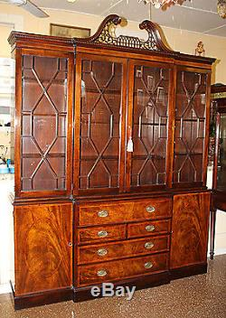 Best Quality OLD Baker Chippendale Mahogany Breakfront Bookcase China Cabinet