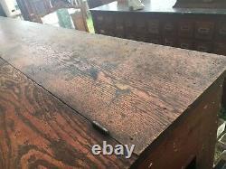 C1890 antique OAK hardware store counter VA origin 97 x 46 x 33.25 slant top