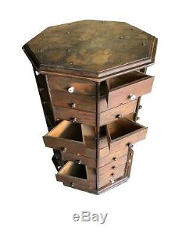 C1900 AMERICAN BOLT & SCREW Antique Octagonal 80 drawer Hardware Store Cabinet