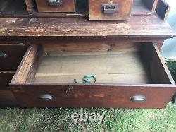 C1900 antique store counter cabinet open top shelves PINE original varnish 14