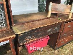 C1900 antique store counter cabinet open top shelves PINE original varnish 14' B