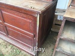 C1900 oak Warren furnishings Co country store cabinet 86h x 101 L x 30 deep