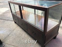 C1930 glass jewelry store counter case cabinet mahogany finish 6 x 38 h x 24