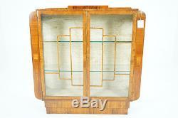 (C2590) Antique Scottish Walnut Art Deco China Display Curio Cabinet