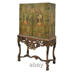 Cabinet Chinoiserie Style, Stand, Neoclassical Painted Figural, Vintage/Antique