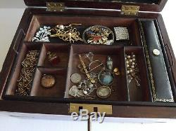 Campaign Style Mahogany & Brass Bound Jewellery Box Late Victorian