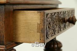 Carved Oak & Leather Antique Dutch Bar or Hall Cabinet #31354