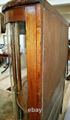 China cabinet Curved Glass solid Oak Two shelves led lighted Big Lion Claw Feet