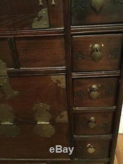 Chinese Medicine Cabinet Chest Calligraphy