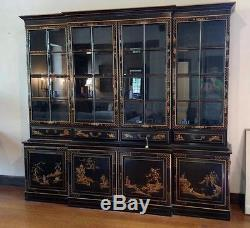Chinoiserie Charak Black Laquer Chinese Chippendale Breakfront