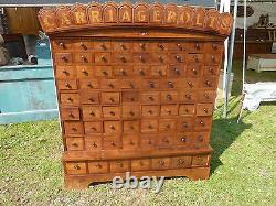 Circa 1870 CUSTOM made cherry CARRIAGE BOLT hardware store cabinet 57 h x 50 w