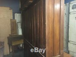 Circa 1910-20 antique OAK stepback CUPBOARD school SCIENCE lab CABINET 70w x 78