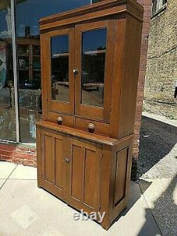 Country primitive Antique stepback cupboard cabinet wood Full plank
