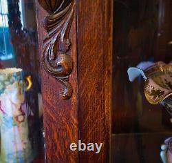 Curio Buffet Curved Glass Quartersawn Oak China Cabinet Circa 1880