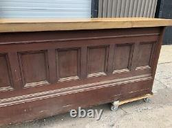 Custom made bar salvaged wainscot & bowling alley slab CRAFT beer room 12 8x42