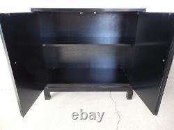 DREXEL Et Cetera Black Lacquer Chinoiserie Decorated Console & Mirror