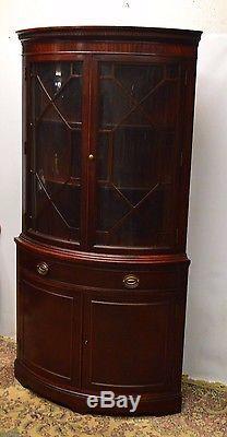 DREXEL Mahogany Bowed Corner Cabinet