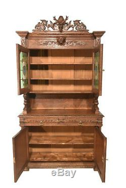 Dazzling French Hunt Cabinet, Leaded Glass Doors, Gargoyle Carvings, 1900's