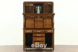 Dentist Oak Antique Dental Cabinet 26 Drawers, 3 Roll Tops, Collector or Jewelry