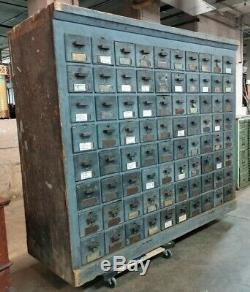 Double sided Cabinet Apothecary Map Large Old Blue Paint