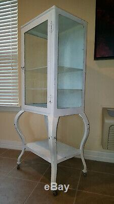 Early 1900's Antique Metal Dental Cabinet / Display Case