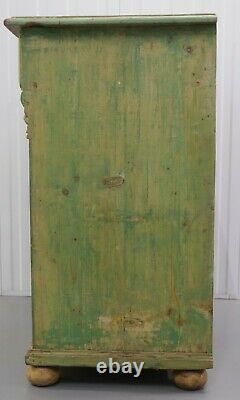 Early 1900's Pine Sideboard/cupboard On Bun Feet & Stunning Soft Green Colour