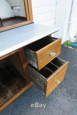 Early 1900s Oak Hoosier Two Part Kitchen Storage Cabinet Cupboard 1211