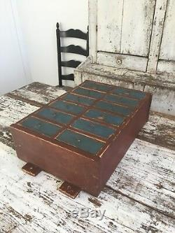 Early Antique Folk Art Wood Original Red Blue Apothecary Cabinet Square Nails