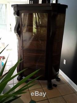 Early Antique oak curved glass china cabinet cupboard