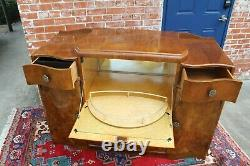 English Antique Burled Walnut Art Deco Sideboard Buffet Wine Bar Cabinet