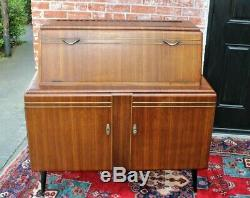 English Antique Mid Century Mahogany Wine Bar Drink Cabinet With Light