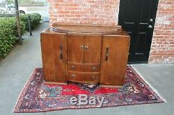English Antique Oak Art Deco Sideboard Buffet Wine Bar Drink Furniture Cabinet