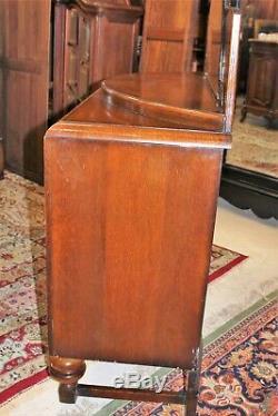 English Antique Oak Art Deco Sideboard With Mirror Server / Wine Bar Cabinet