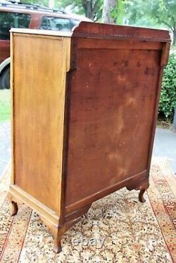English Antique Oak Queen Anne 2 Door 2 Drawer Small Cabinet Bedroom Furniture