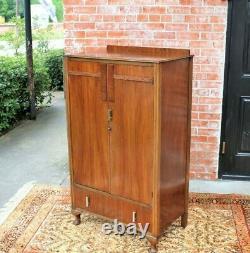 English Antique Queen Anne 2 Doors & 1 Drawer Cabinet Wardrobe / Armoire