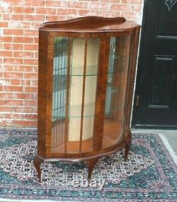 English Antique Queen Anne Burled Walnut Display Cabinet
