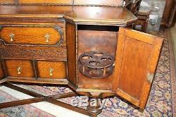 English Antique Tiger Oak Jacobean Sideboard / Buffet / Bar Cabinet